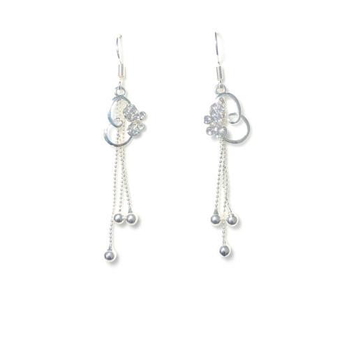 Silver Flower Tassel Earrings 2006067