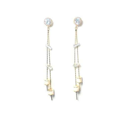 Gold Zircon Tassel Earrings 2006064