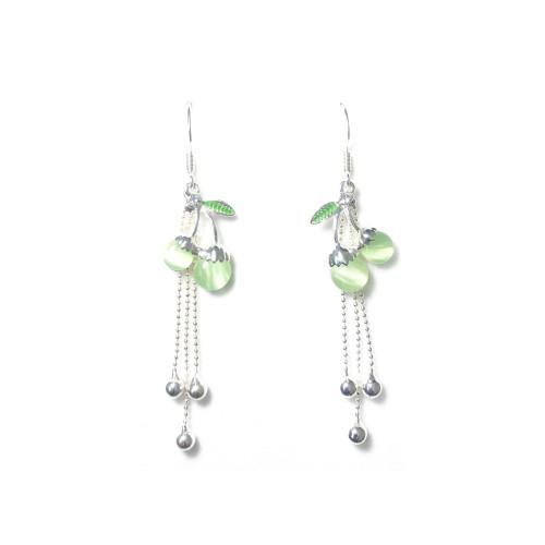 Green Cherry of Opal Tassel Earrings 2006073
