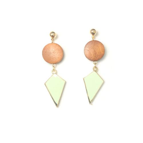 Rhombus of Green Wood Drop Earrings 2006089