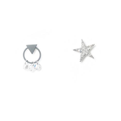 Asymmetrical Style Star of Microscope Zircon Stud Earrings 2006109
