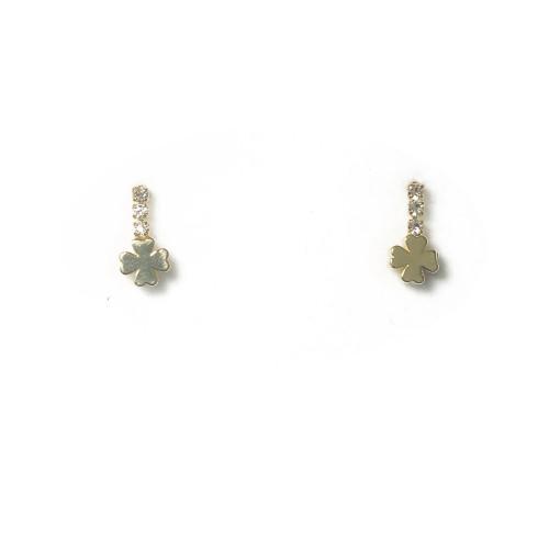 Gold Four Leaf Clover Stud Earrings 2006099