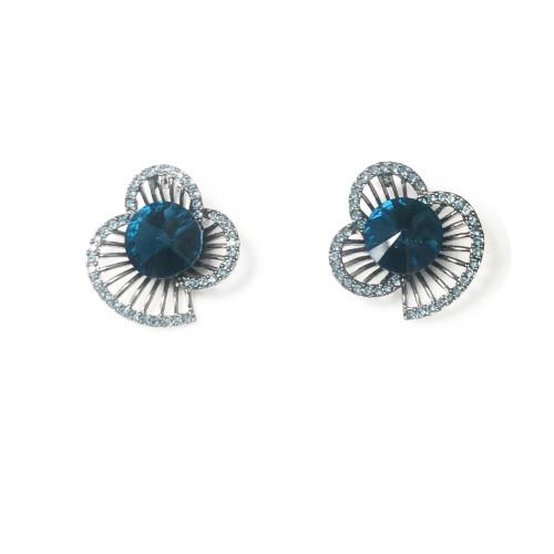 Blue Flower of Swaro Crystal Stud Earrings 2006116