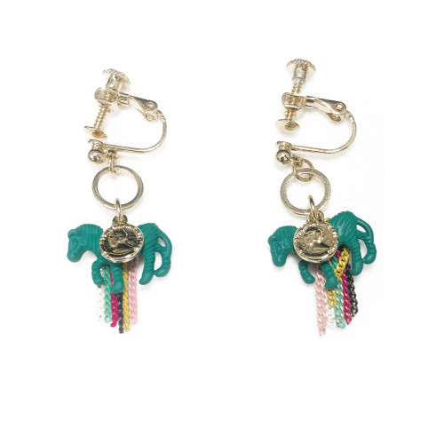 Green Horse of Color Clip-on Earrings 2006143