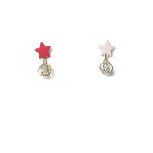 Asymmetrical Style Pink and Red Star Stud Earrings 2006144