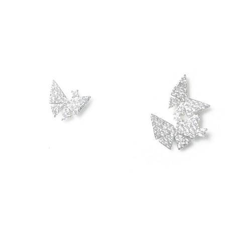 Asymmetrical Style Butterfly of Microscope Zircon Stud Earrings 2006102