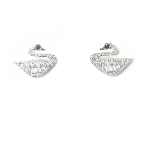 Swan of Microscope Zircon  Stud Earrings 2006118