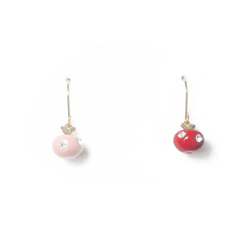 Pink and Red Ball of Microscope Zircon Asymmetrical Style Drop Earrings 2006130