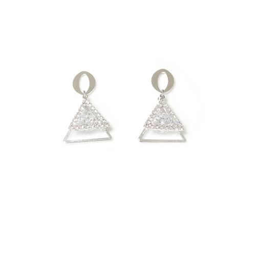 Silver Triangle of Microscope Zircon Drop Earrings 2006121