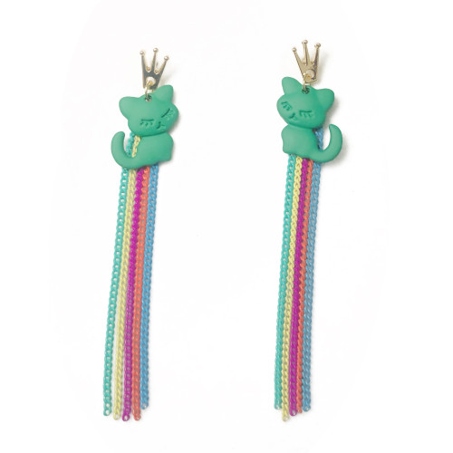 Green Cat of Color Tassel Earrings 2006142