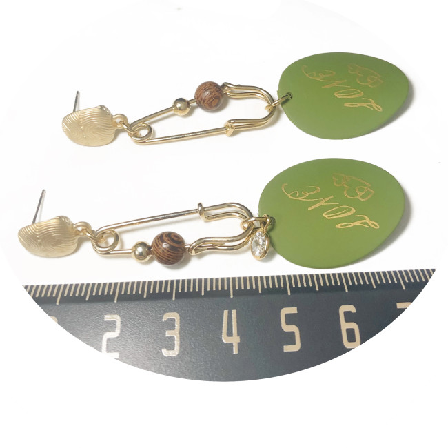 Satin Gold and Green Safe Pin Drop Earrings 2006122