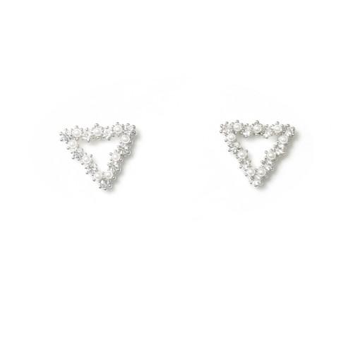 Silver Triangle of Microscope Zircon Stud Earrings 2006128