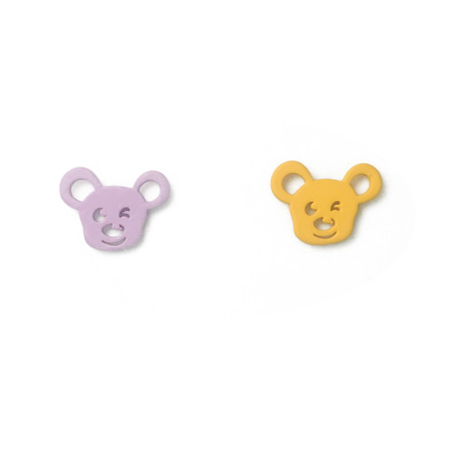 Pink and Yellow Mouse of Asymmetrical Style Stud Earrings 2006137
