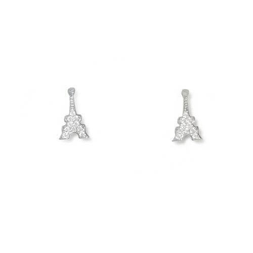 Eiffel Tower of Microscope Zircon Stud Earrings 2006100