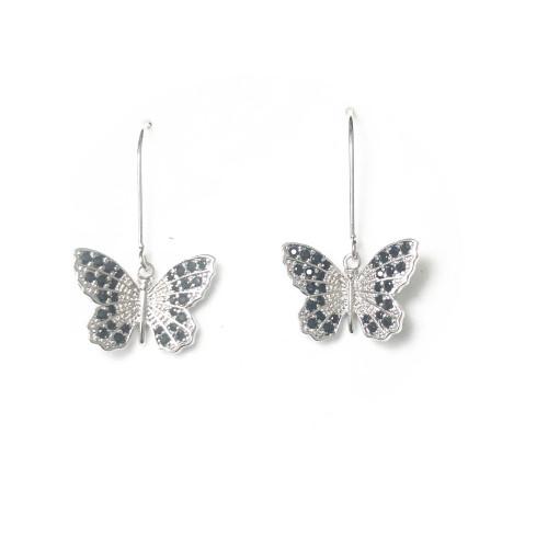 Butterfly of Black Microscope Zircon Drop Earrings 2006135