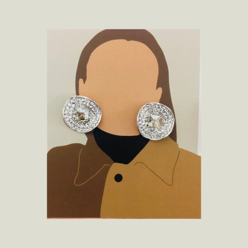 White Swaro Crystal Stud Earrings 2007012