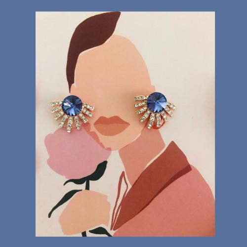 Purple Swaro Crystal  Stud Earrings 2007002