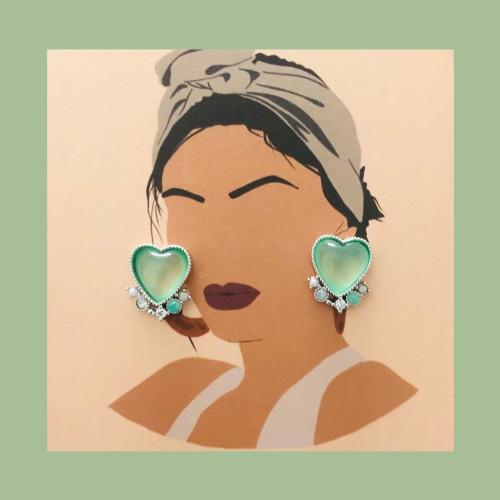 Green Heart of Opal Stud Earrings 2007001