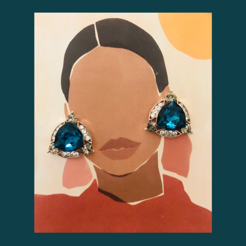 Blue Swaro Crystal  Stud Earrings 2007005