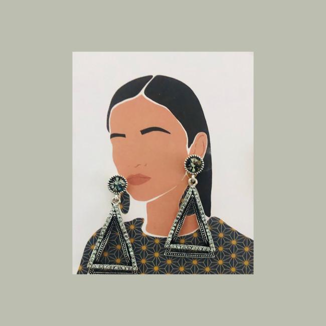 Black Triangle Vintage Style of Austrian Crystal Drop Earrings 2007010