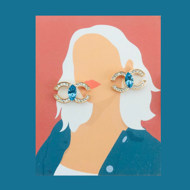 Double C of Blue Swaro Crystal Stud Earrings 2007007