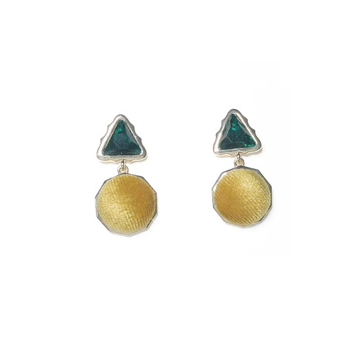 Yellow Geometric of Velvet Drop Earrings 201003