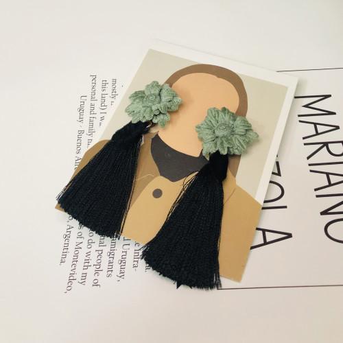 Green Flower with Black Woolen Yarn Tassel Earrings 201025