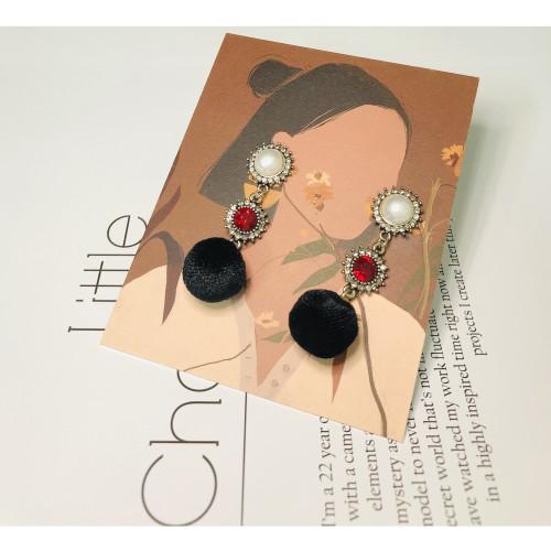 Black Velvet Ball Drop Earrings 201014