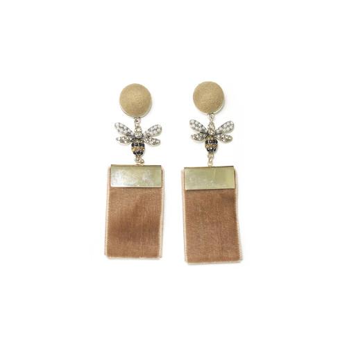 Gray Bee of Velvet Drop Earrings 201013
