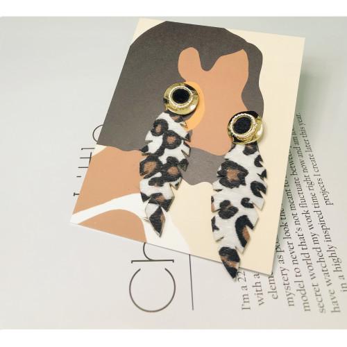 Black Leaf of Leopard Print Drop Earrings 201015