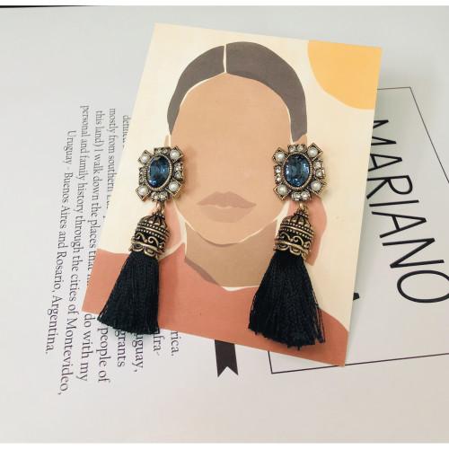 Black Woolen Yarn Tassel Earrings 201026
