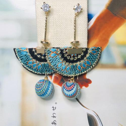 Blue Fan of Embroidery Drop Earrings 201010