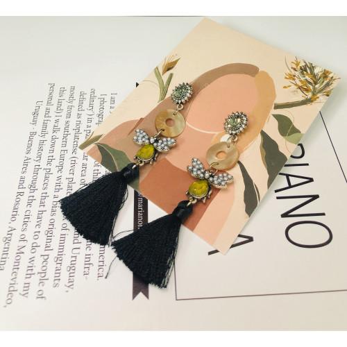 Black Bee of Woolen Yarn Tassel Earrings  201027