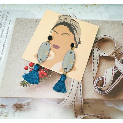 Blue Woolen Yarn Tassel Earrings 201020