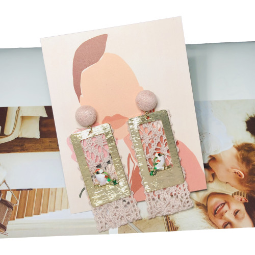 Pink Lace Drop Earrings 201005