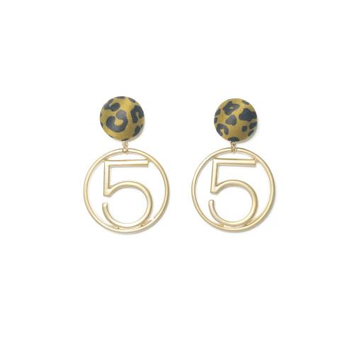 Yellow Word of Leopard Print Drop Earrings 201011