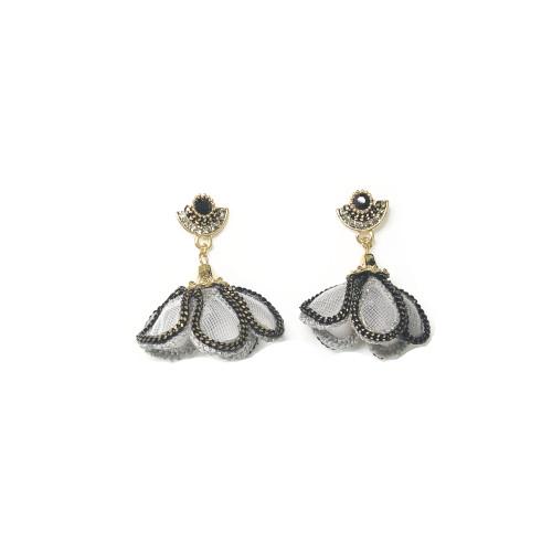 Black Flower of Gauze Drop Earrings 201018