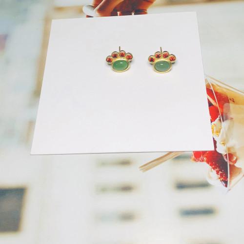 Green Catpad of Opal Vintage Style Stud Earrings 201146