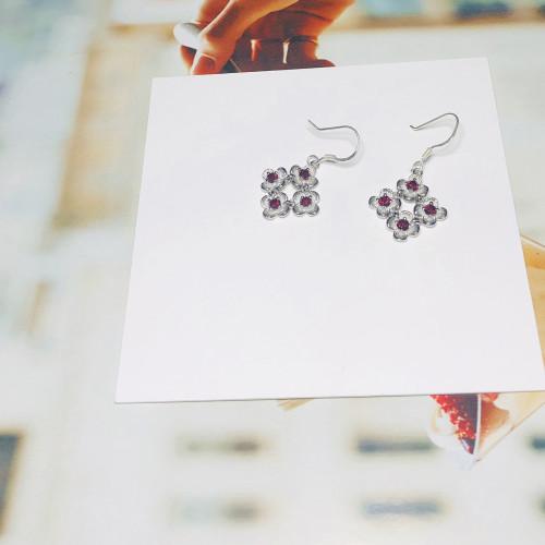 Silver Flower of Crystal Vintage Style Drop Earrings 201145