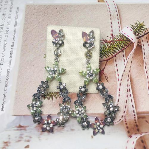 Heavy 50g Flower of Crystal  Drop Earrings 201169
