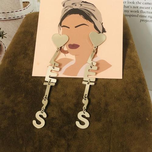 Glossy SilverWord Plating Normcore Style Drop Earrings 2011110