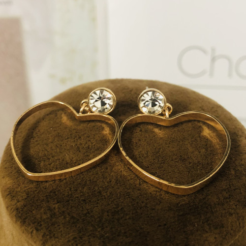 Gold Heart Plating Normcore Style Drop Earrings 2011115