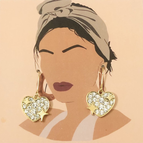 Gold Heart Plating Normcore Style Drop Earrings 2011122