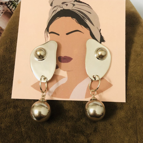 Glossy Gray Eggs Plating Normcore Style Drop Earrings 2011126