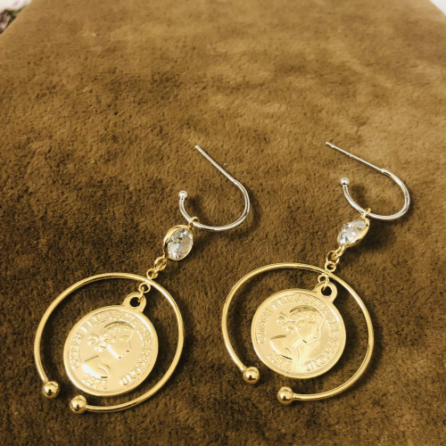 Glossy Gold Plating Normcore Style Drop Earrings 2011143