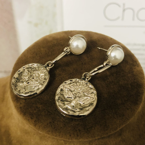 Gray Eagle Coins Plating Normcore Style Drop Earrings 2011119