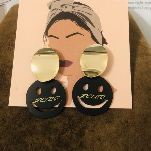 Glossy Gold Plating Normcore Style Drop Earrings 2011123