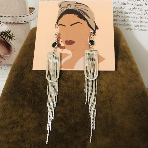 Silver Plating Normcore Style Tassel Earrings 2011128