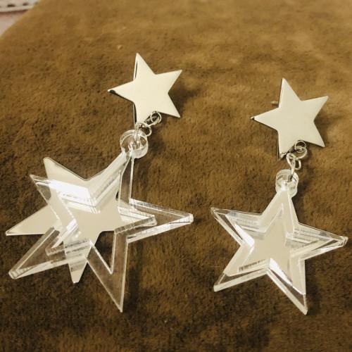 Glossy SilverStar Plating Normcore Style Drop Earrings 2011113
