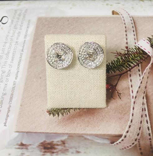 White Swaro Crystal Stud Earrings 2007012